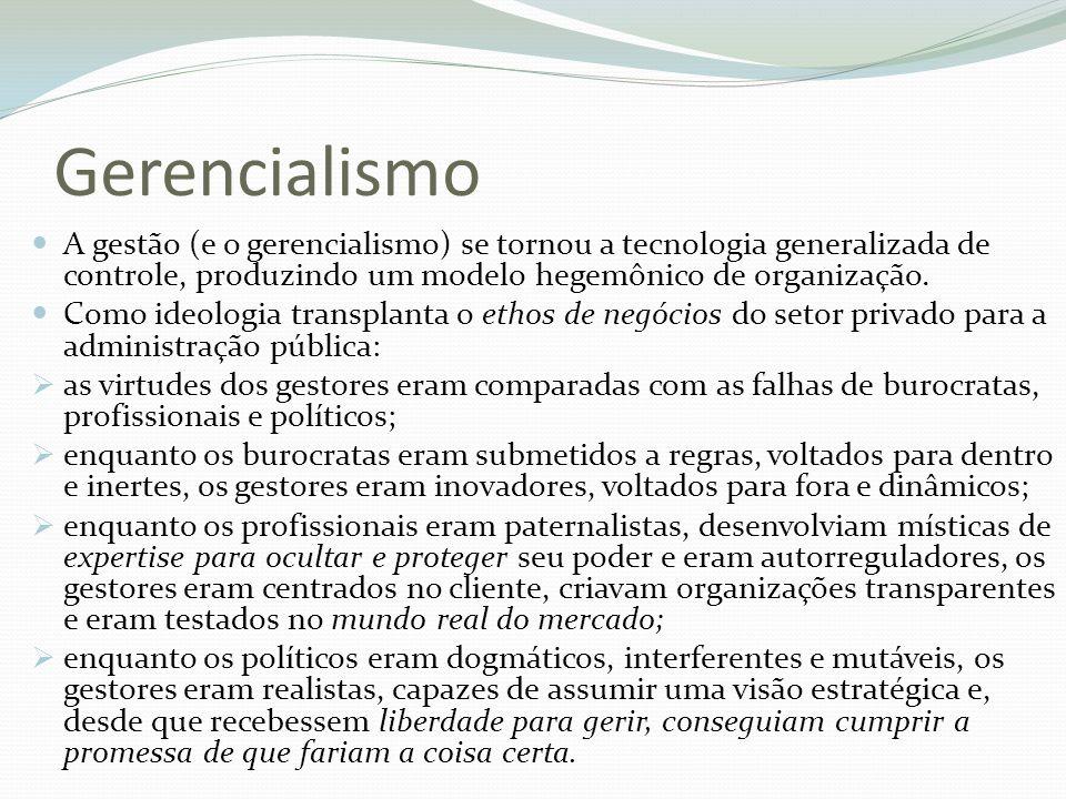 Gerencialismo A gestão (e o gerencialismo) se tornou a tecnologia generalizada de controle, produzindo um modelo hegemônico de organização. Como ideol