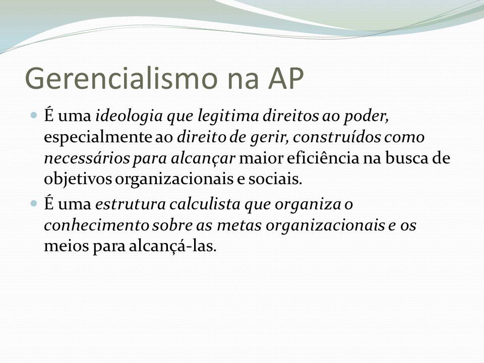 Gerencialismo na AP É uma ideologia que legitima direitos ao poder, especialmente ao direito de gerir, construídos como necessários para alcançar maio