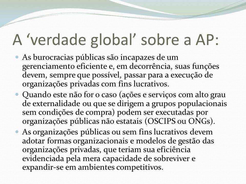 A verdade global sobre a AP: As burocracias públicas são incapazes de um gerenciamento eficiente e, em decorrência, suas funções devem, sempre que pos