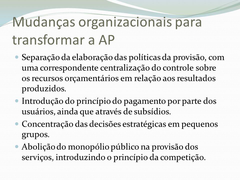 Mudanças organizacionais para transformar a AP Separação da elaboração das políticas da provisão, com uma correspondente centralização do controle sob