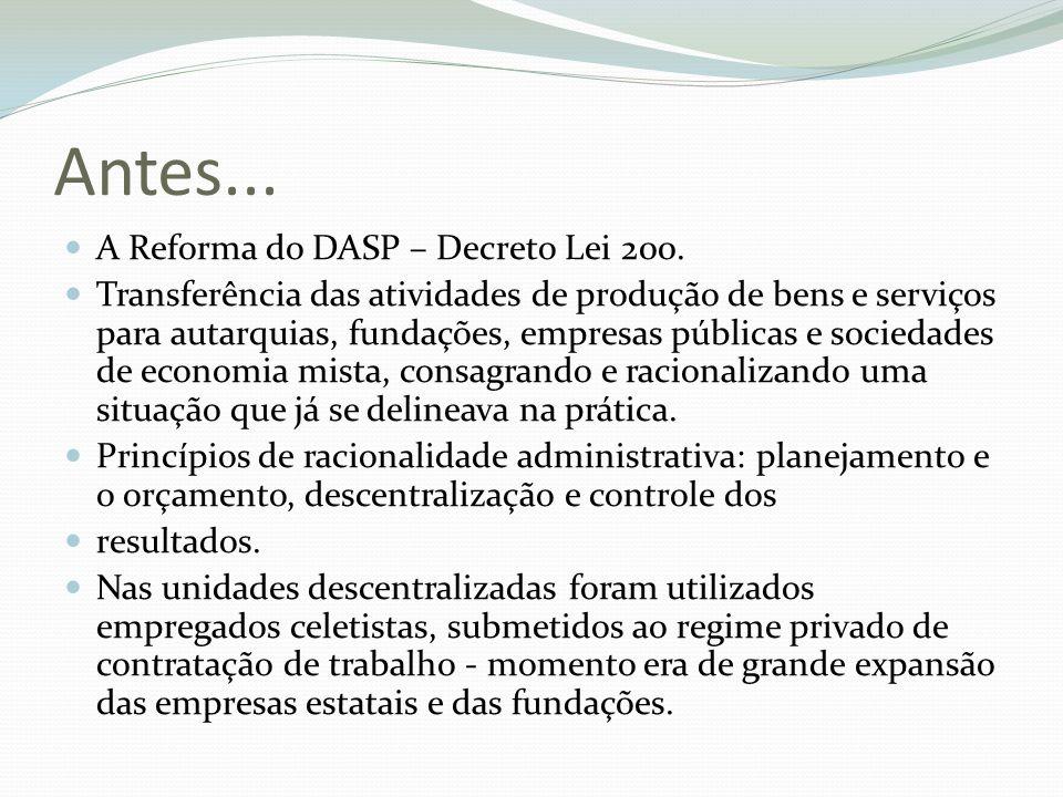 Antes... A Reforma do DASP – Decreto Lei 200. Transferência das atividades de produção de bens e serviços para autarquias, fundações, empresas pública