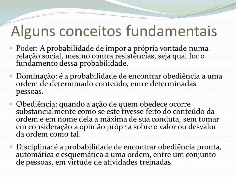 Alguns conceitos fundamentais Poder: A probabilidade de impor a própria vontade numa relação social, mesmo contra resistências, seja qual for o fundam