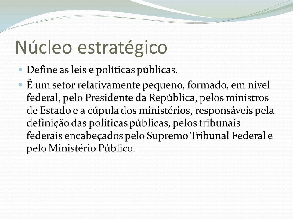 Núcleo estratégico Define as leis e políticas públicas. É um setor relativamente pequeno, formado, em nível federal, pelo Presidente da República, pel