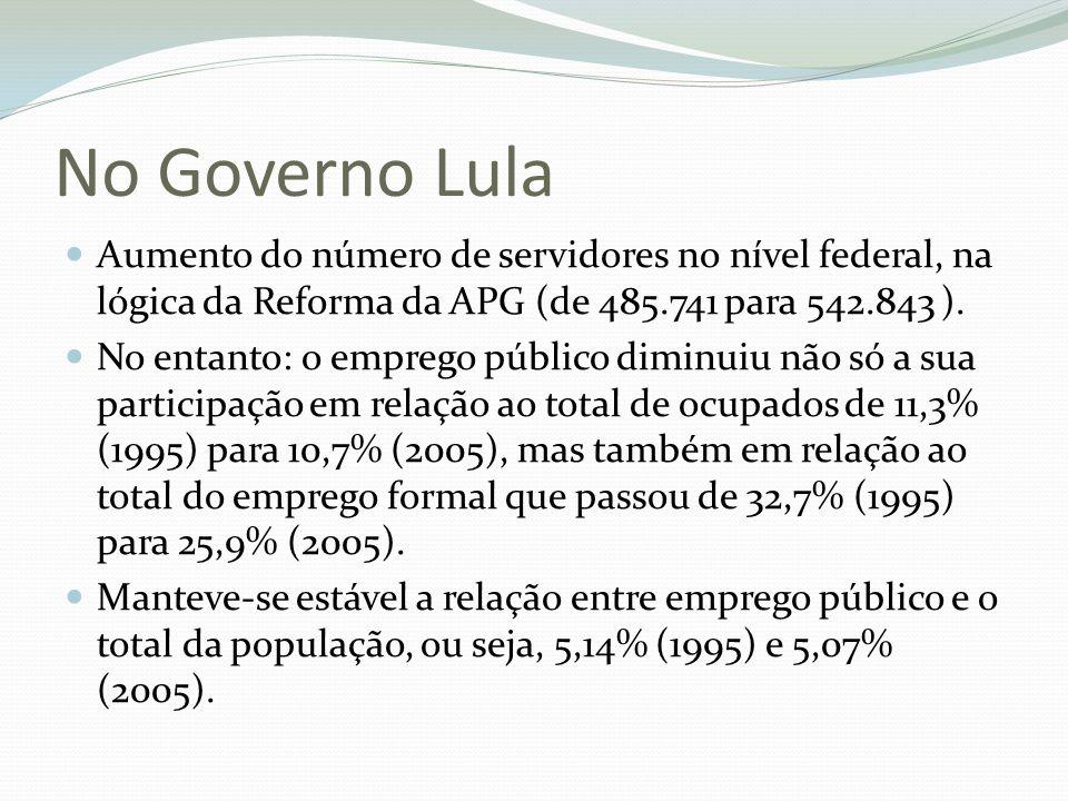 No Governo Lula Aumento do número de servidores no nível federal, na lógica da Reforma da APG (de 485.741 para 542.843 ). No entanto: o emprego públic