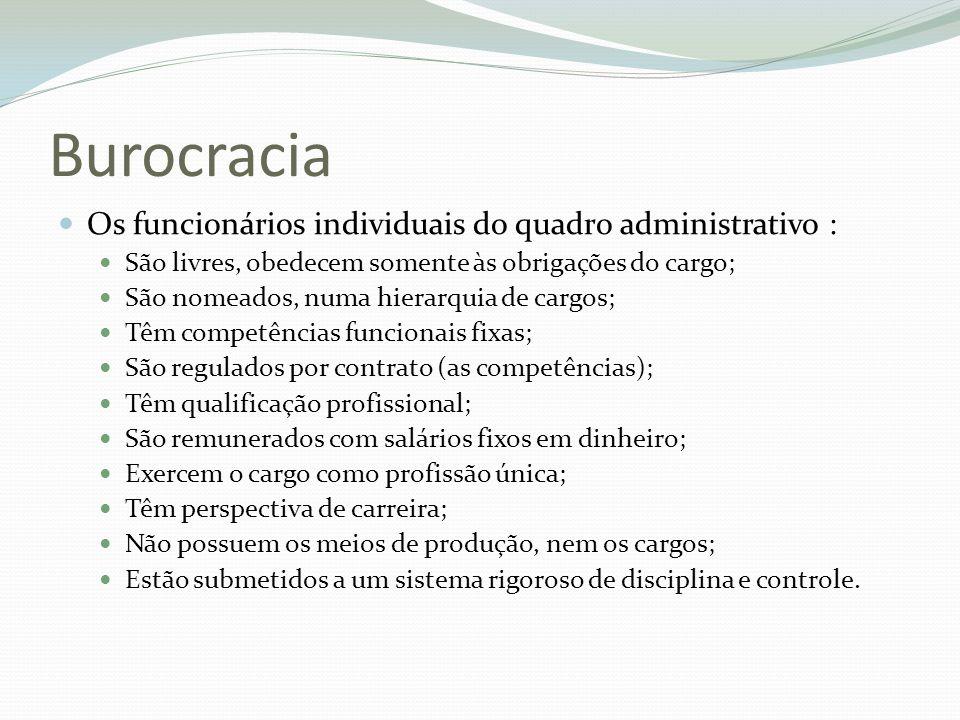 Burocracia Os funcionários individuais do quadro administrativo : São livres, obedecem somente às obrigações do cargo; São nomeados, numa hierarquia d