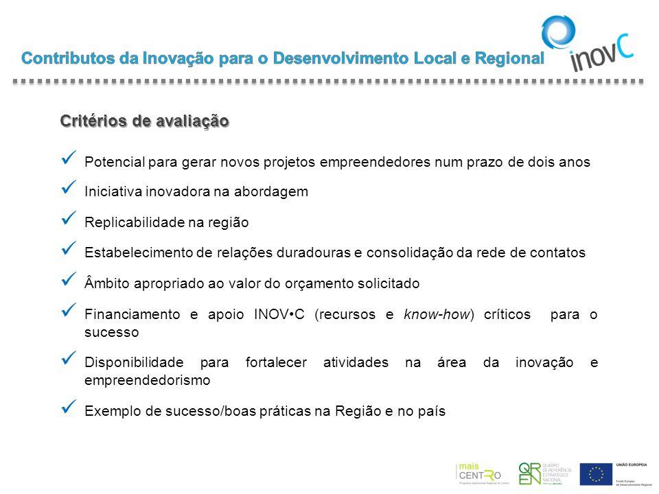 Critérios de avaliação Potencial para gerar novos projetos empreendedores num prazo de dois anos Iniciativa inovadora na abordagem Replicabilidade na