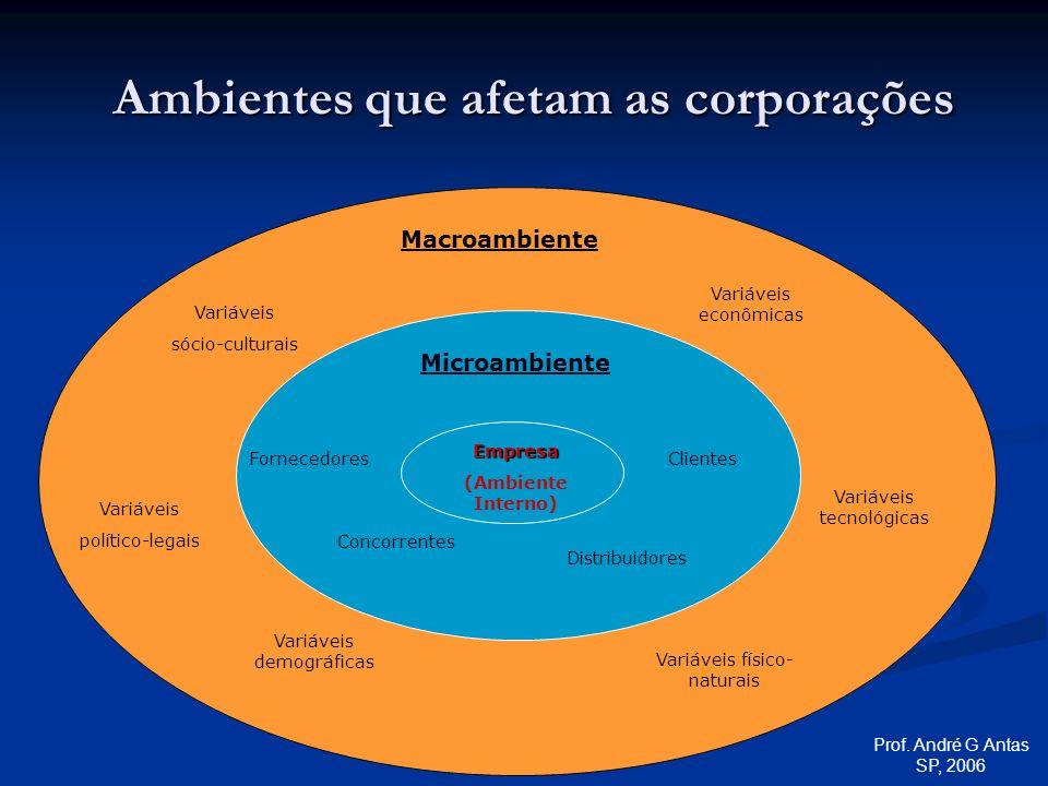 Empresa (Ambiente Interno) Distribuidores Concorrentes FornecedoresClientes Variáveis demográficas Variáveis político-legais Variáveis tecnológicas Variáveis econômicas Variáveis sócio-culturais Variáveis físico- naturais Macroambiente Microambiente Ambientes que afetam as corporações Prof.