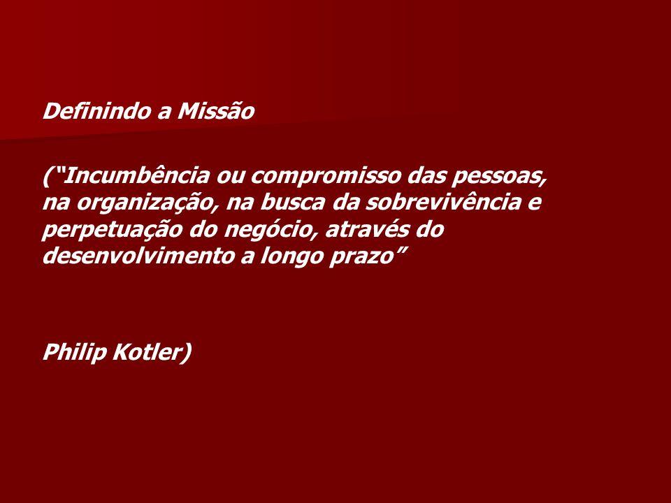 Definindo a Missão (Incumbência ou compromisso das pessoas, na organização, na busca da sobrevivência e perpetuação do negócio, através do desenvolvimento a longo prazo Philip Kotler)