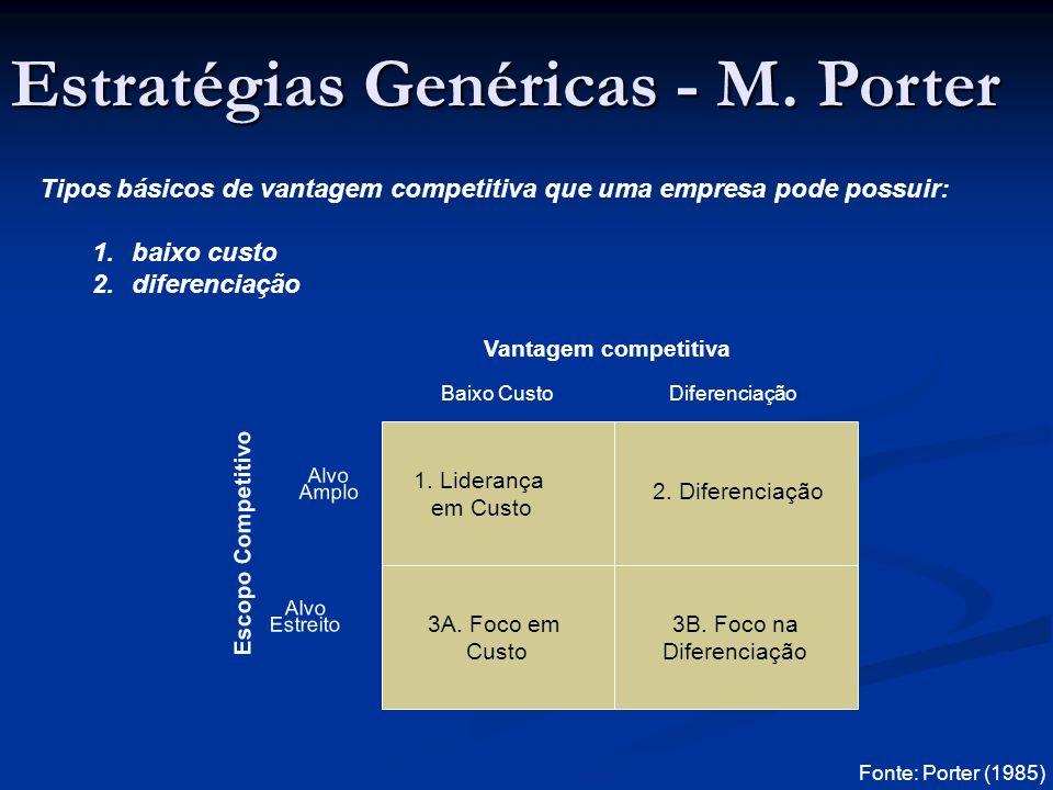 Tipos básicos de vantagem competitiva que uma empresa pode possuir: 1.baixo custo 2.diferenciação Escopo Competitivo 1.