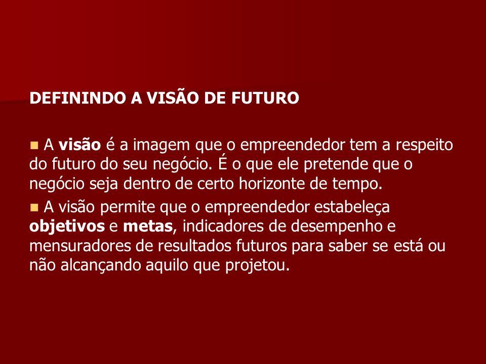 DEFININDO A VISÃO DE FUTURO A visão é a imagem que o empreendedor tem a respeito do futuro do seu negócio.