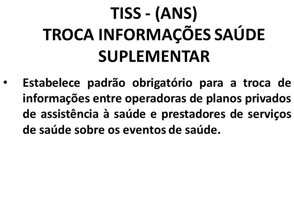 TISS - (ANS) TROCA INFORMAÇÕES SAÚDE SUPLEMENTAR Estabelece padrão obrigatório para a troca de informações entre operadoras de planos privados de assi