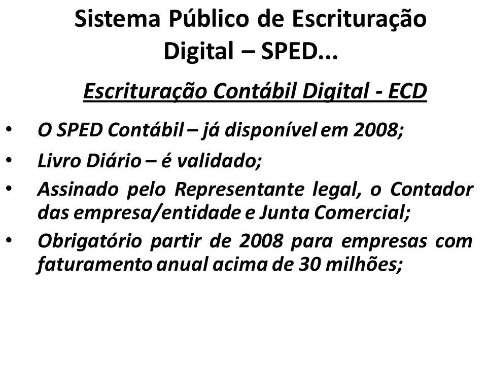 Sistema Público de Escrituração Digital – SPED... Escrituração Contábil Digital - ECD O SPED Contábil – já disponível em 2008; Livro Diário – é valida