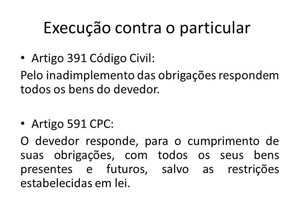 Execução contra o particular Artigo 391 Código Civil: Pelo inadimplemento das obrigações respondem todos os bens do devedor. Artigo 591 CPC: O devedor