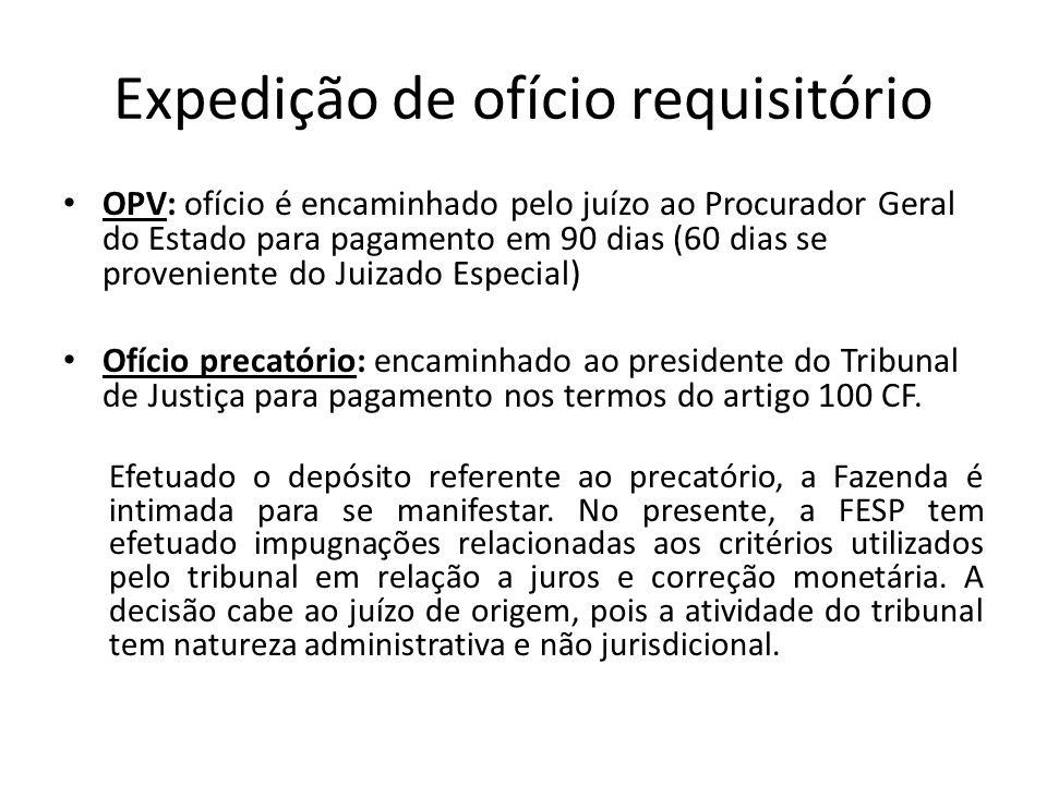 Expedição de ofício requisitório OPV: ofício é encaminhado pelo juízo ao Procurador Geral do Estado para pagamento em 90 dias (60 dias se proveniente
