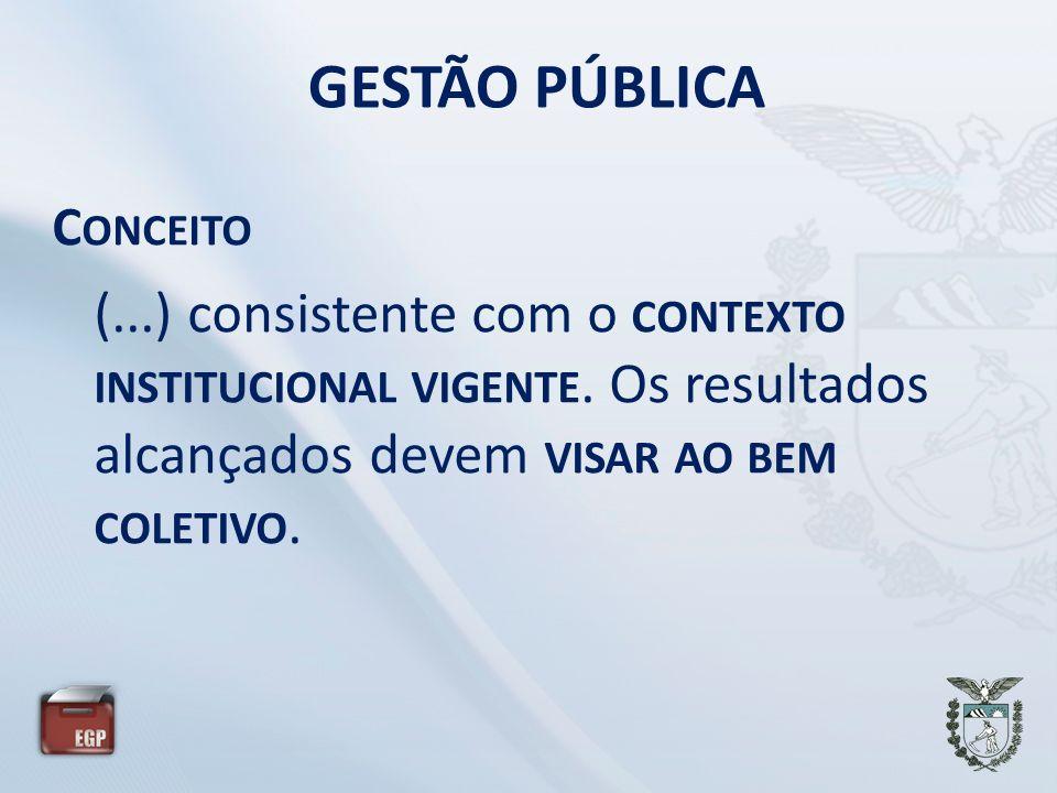 GESTÃO PÚBLICA C ONCEITO (...) consistente com o CONTEXTO INSTITUCIONAL VIGENTE. Os resultados alcançados devem VISAR AO BEM COLETIVO.
