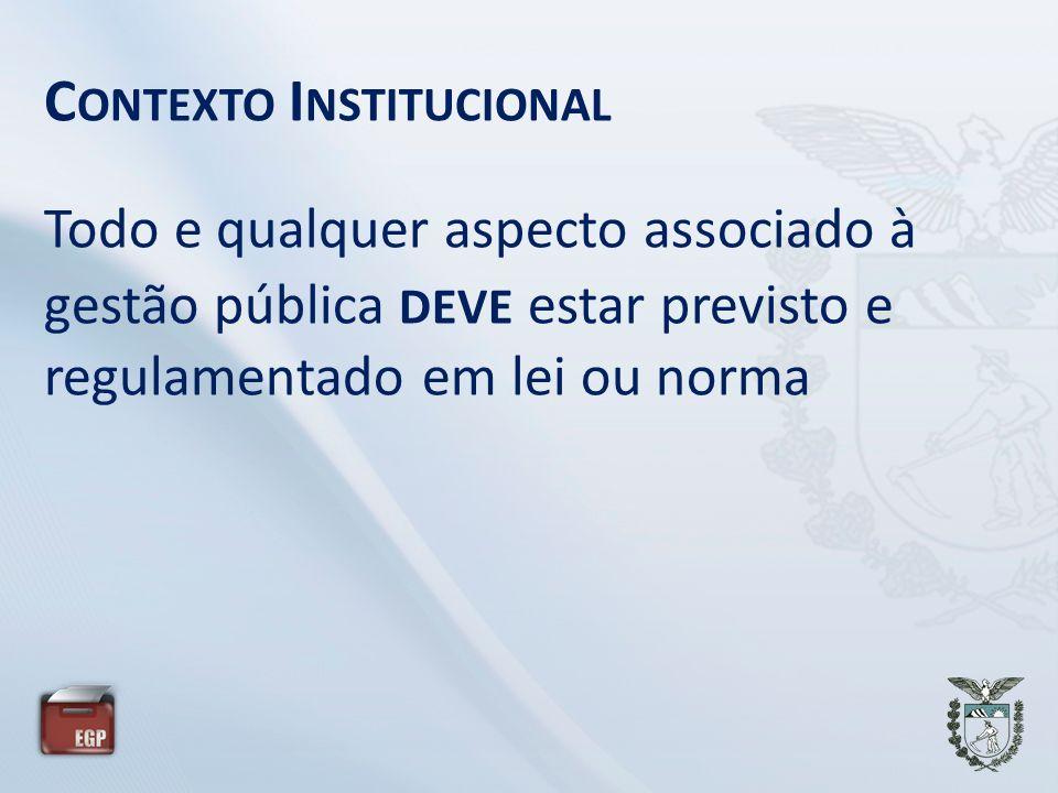 C ONTEXTO I NSTITUCIONAL Todo e qualquer aspecto associado à gestão pública DEVE estar previsto e regulamentado em lei ou norma