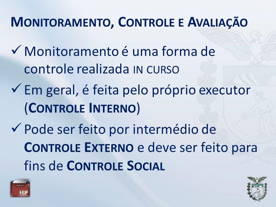 M ONITORAMENTO, C ONTROLE E A VALIAÇÃO Monitoramento é uma forma de controle realizada IN CURSO Em geral, é feita pelo próprio executor ( C ONTROLE I