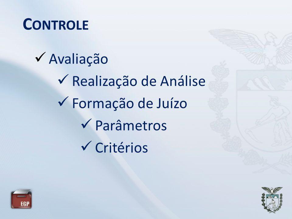 C ONTROLE Avaliação Realização de Análise Formação de Juízo Parâmetros Critérios