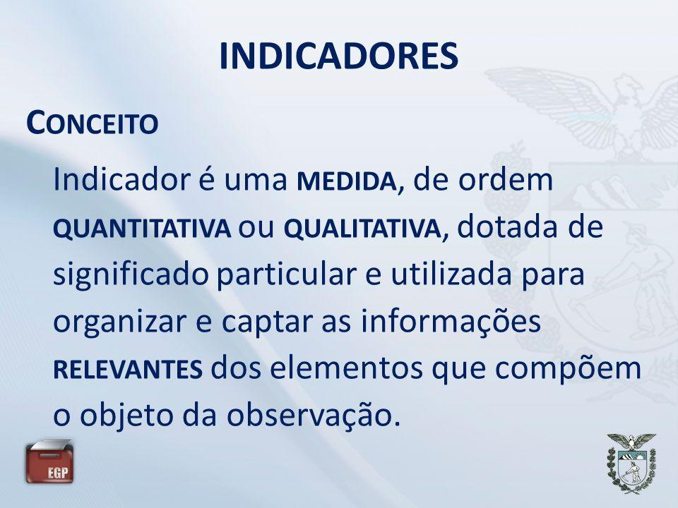INDICADORES C ONCEITO Indicador é uma MEDIDA, de ordem QUANTITATIVA ou QUALITATIVA, dotada de significado particular e utilizada para organizar e captar as informações RELEVANTES dos elementos que compõem o objeto da observação.
