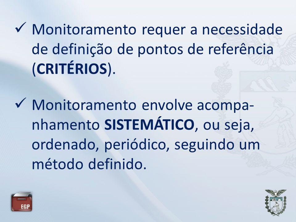 Monitoramento requer a necessidade de definição de pontos de referência (CRITÉRIOS). Monitoramento envolve acompa- nhamento SISTEMÁTICO, ou seja, orde