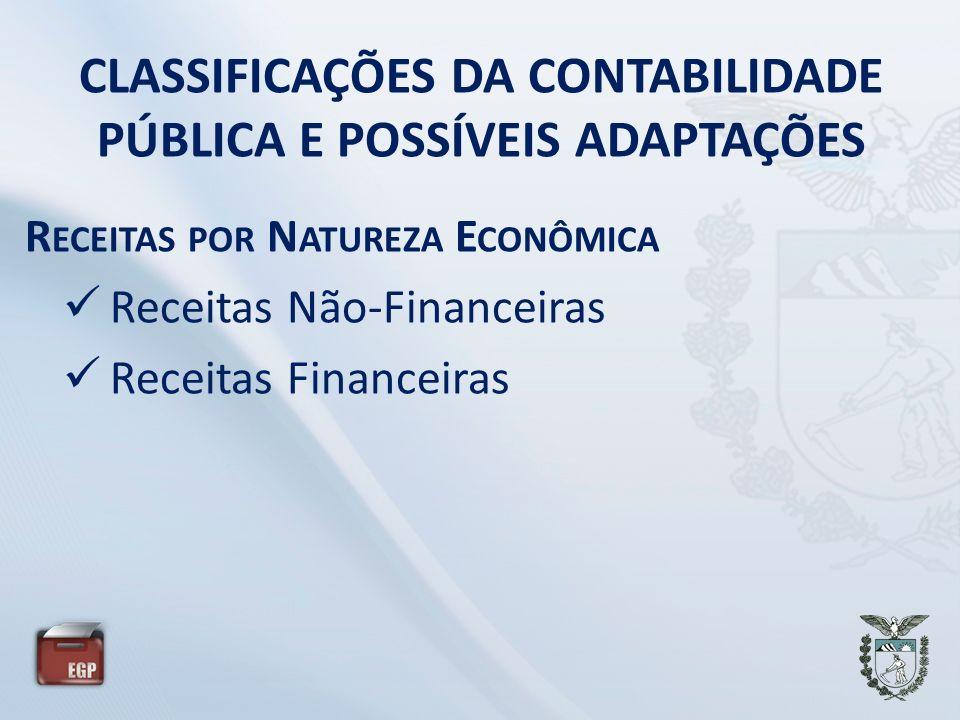 CLASSIFICAÇÕES DA CONTABILIDADE PÚBLICA E POSSÍVEIS ADAPTAÇÕES R ECEITAS POR N ATUREZA E CONÔMICA Receitas Não-Financeiras Receitas Financeiras