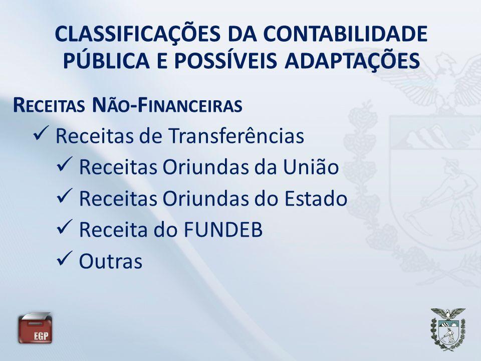CLASSIFICAÇÕES DA CONTABILIDADE PÚBLICA E POSSÍVEIS ADAPTAÇÕES R ECEITAS N ÃO -F INANCEIRAS Receitas de Transferências Receitas Oriundas da União Rece