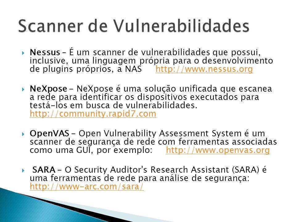 Nessus – É um scanner de vulnerabilidades que possui, inclusive, uma linguagem própria para o desenvolvimento de plugins próprios, a NAS http://www.ne