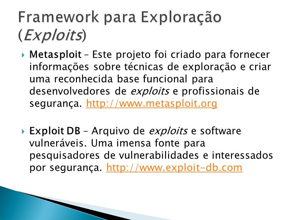 Metasploit – Este projeto foi criado para fornecer informações sobre técnicas de exploração e criar uma reconhecida base funcional para desenvolvedore