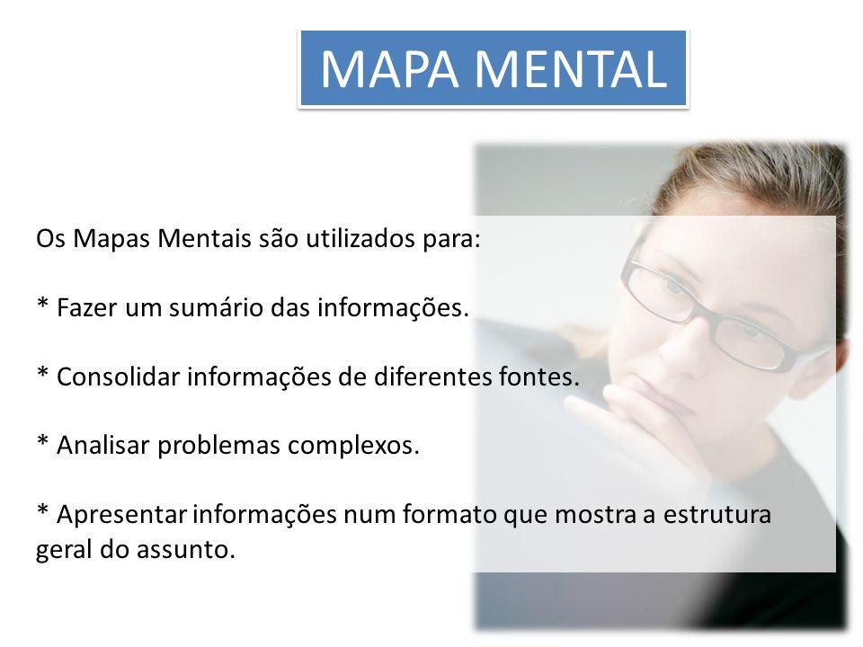 MAPA MENTAL Os Mapas Mentais são utilizados para: * Fazer um sumário das informações. * Consolidar informações de diferentes fontes. * Analisar proble