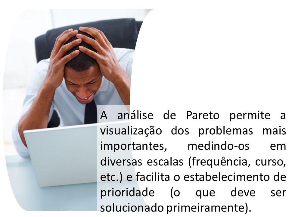 A análise de Pareto permite a visualização dos problemas mais importantes, medindo-os em diversas escalas (frequência, curso, etc.) e facilita o estab