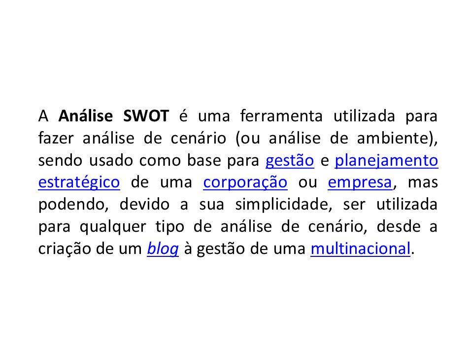 A Análise SWOT é uma ferramenta utilizada para fazer análise de cenário (ou análise de ambiente), sendo usado como base para gestão e planejamento est