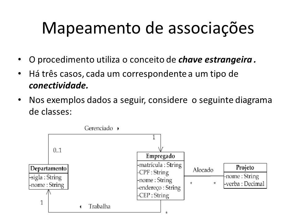 Mapeamento de associações O procedimento utiliza o conceito de chave estrangeira. Há três casos, cada um correspondente a um tipo de conectividade. No
