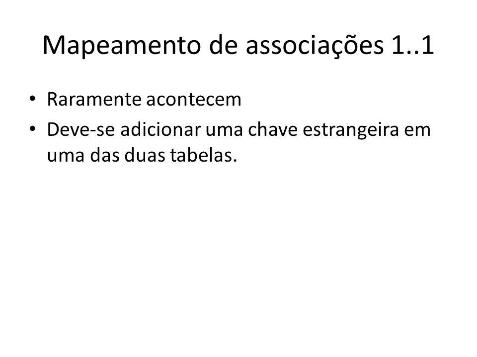 Mapeamento de associações 1..1 Raramente acontecem Deve-se adicionar uma chave estrangeira em uma das duas tabelas.