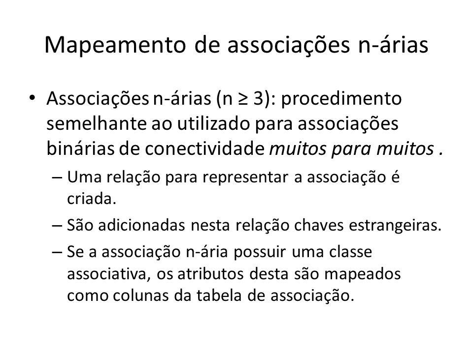 Mapeamento de associações n-árias Associações n-árias (n 3): procedimento semelhante ao utilizado para associações binárias de conectividade muitos pa