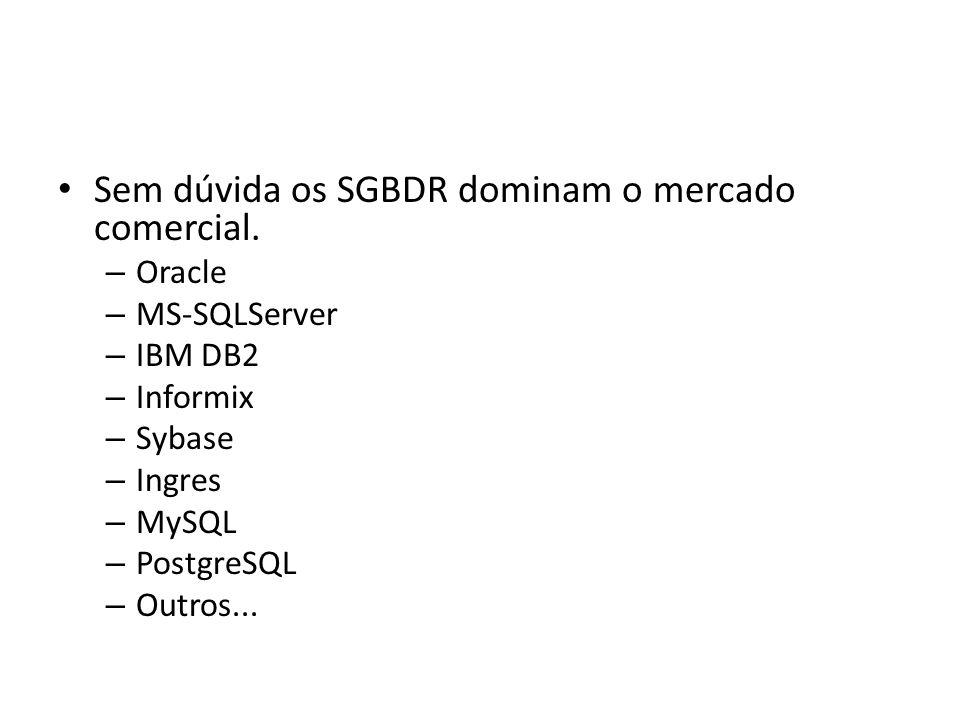 Sem dúvida os SGBDR dominam o mercado comercial. – Oracle – MS-SQLServer – IBM DB2 – Informix – Sybase – Ingres – MySQL – PostgreSQL – Outros...