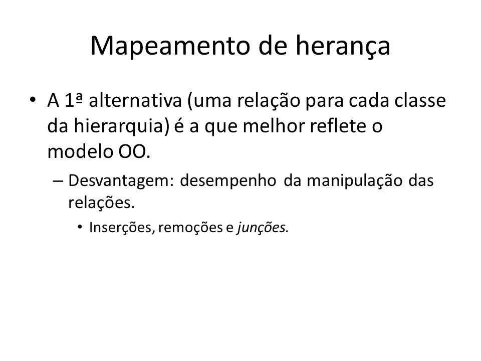 Mapeamento de herança A 1ª alternativa (uma relação para cada classe da hierarquia) é a que melhor reflete o modelo OO. – Desvantagem: desempenho da m