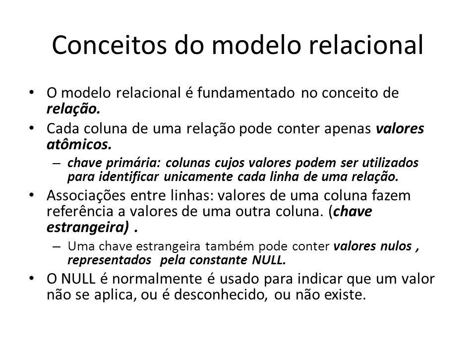 Conceitos do modelo relacional O modelo relacional é fundamentado no conceito de relação. Cada coluna de uma relação pode conter apenas valores atômic