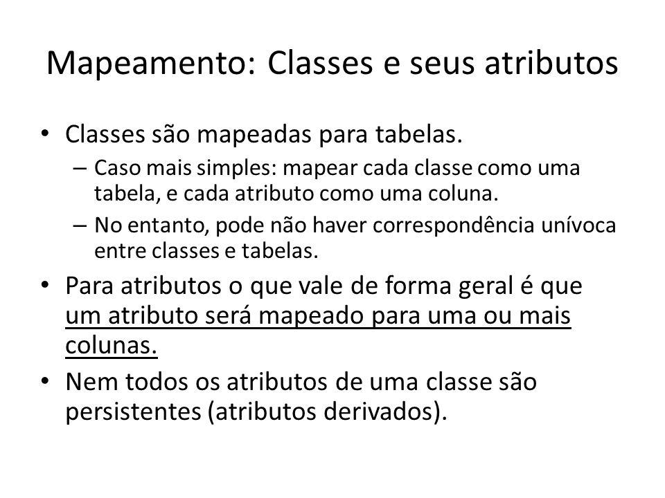 Mapeamento: Classes e seus atributos Classes são mapeadas para tabelas. – Caso mais simples: mapear cada classe como uma tabela, e cada atributo como