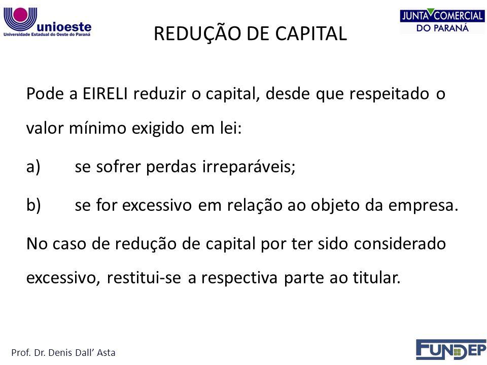 REDUÇÃO DE CAPITAL Pode a EIRELI reduzir o capital, desde que respeitado o valor mínimo exigido em lei: a)se sofrer perdas irreparáveis; b)se for excessivo em relação ao objeto da empresa.