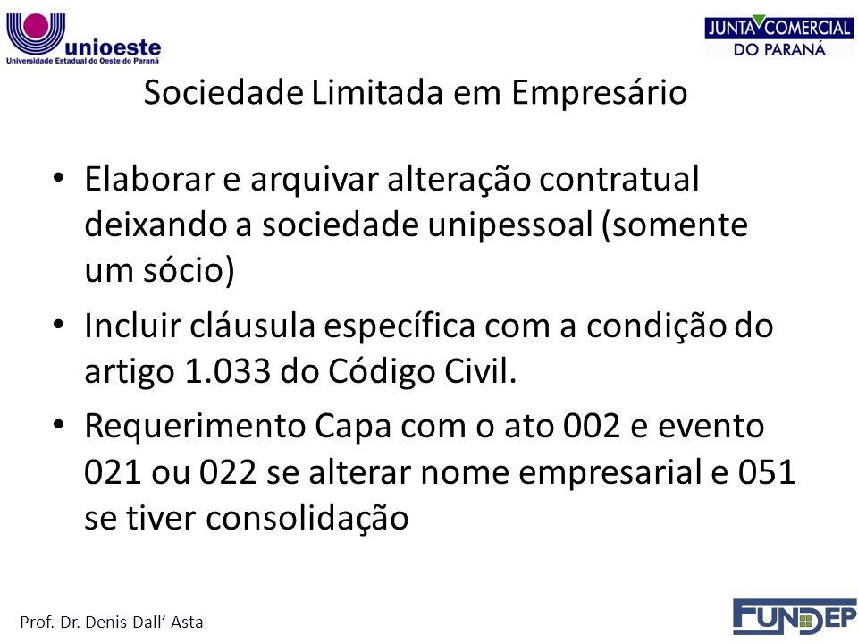 Sociedade Limitada em Empresário Elaborar e arquivar alteração contratual deixando a sociedade unipessoal (somente um sócio) Incluir cláusula específica com a condição do artigo 1.033 do Código Civil.