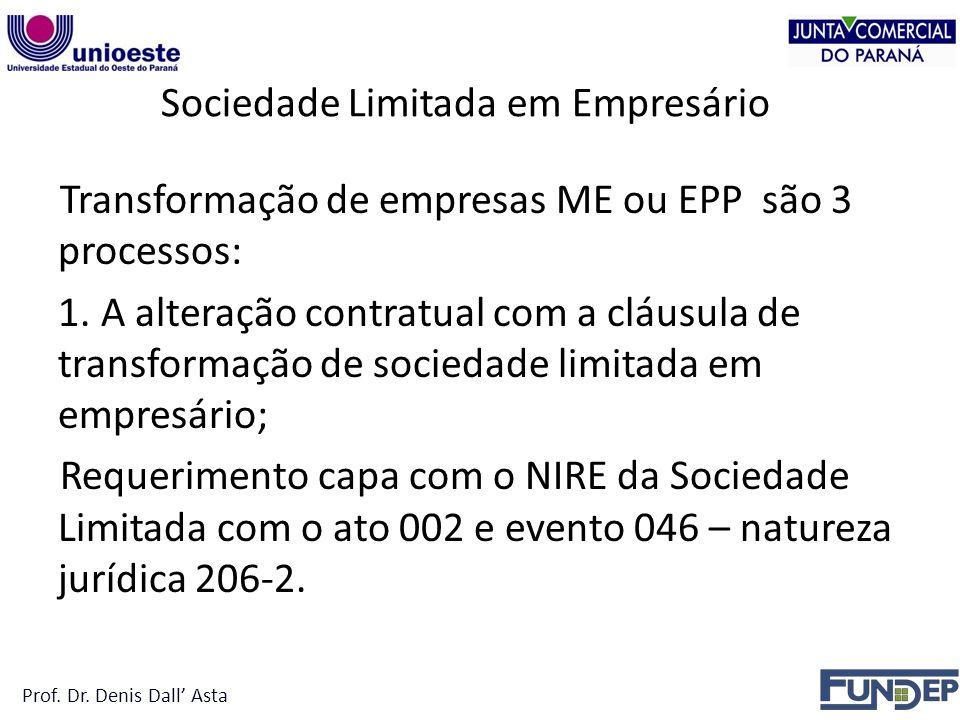 Sociedade Limitada em Empresário Transformação de empresas ME ou EPP são 3 processos: 1.