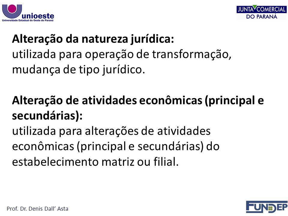 Alteração da natureza jurídica: utilizada para operação de transformação, mudança de tipo jurídico.