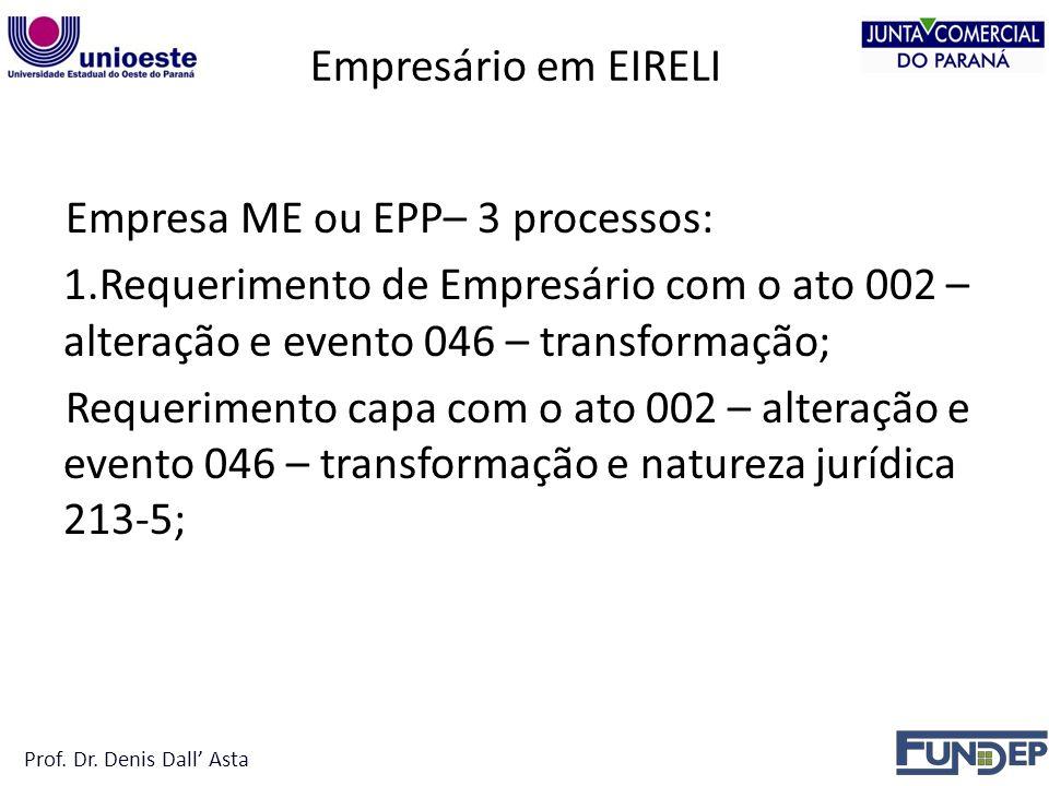 Empresário em EIRELI Empresa ME ou EPP– 3 processos: 1.Requerimento de Empresário com o ato 002 – alteração e evento 046 – transformação; Requerimento capa com o ato 002 – alteração e evento 046 – transformação e natureza jurídica 213-5; Prof.