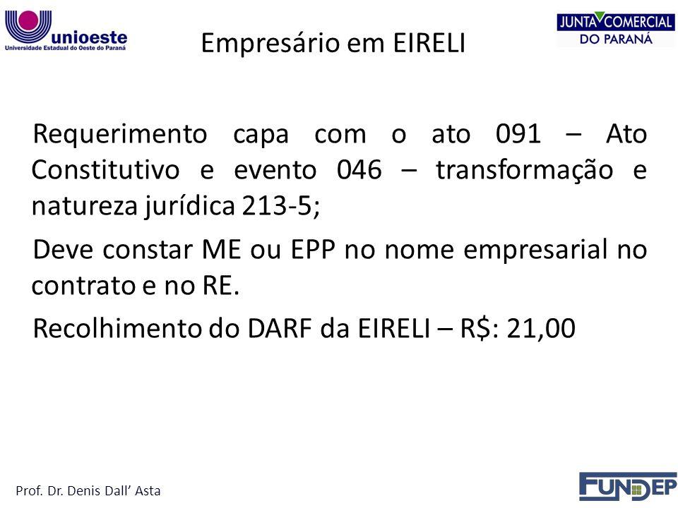Empresário em EIRELI Requerimento capa com o ato 091 – Ato Constitutivo e evento 046 – transformação e natureza jurídica 213-5; Deve constar ME ou EPP no nome empresarial no contrato e no RE.