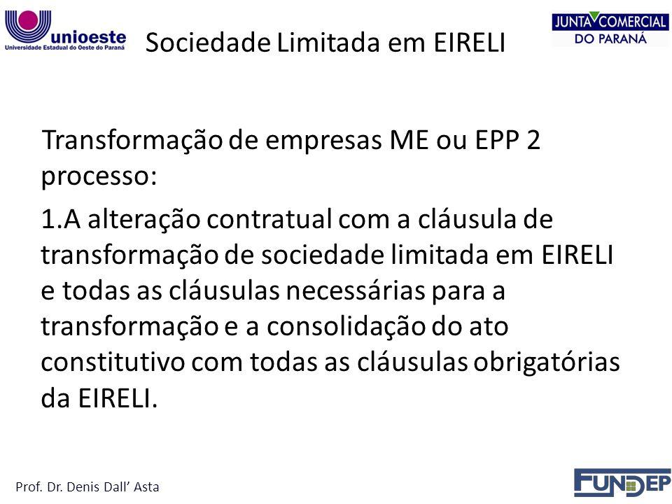 Sociedade Limitada em EIRELI Transformação de empresas ME ou EPP 2 processo: 1.A alteração contratual com a cláusula de transformação de sociedade limitada em EIRELI e todas as cláusulas necessárias para a transformação e a consolidação do ato constitutivo com todas as cláusulas obrigatórias da EIRELI.