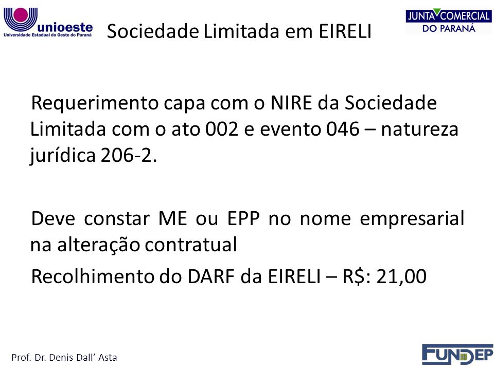 Sociedade Limitada em EIRELI Requerimento capa com o NIRE da Sociedade Limitada com o ato 002 e evento 046 – natureza jurídica 206-2.