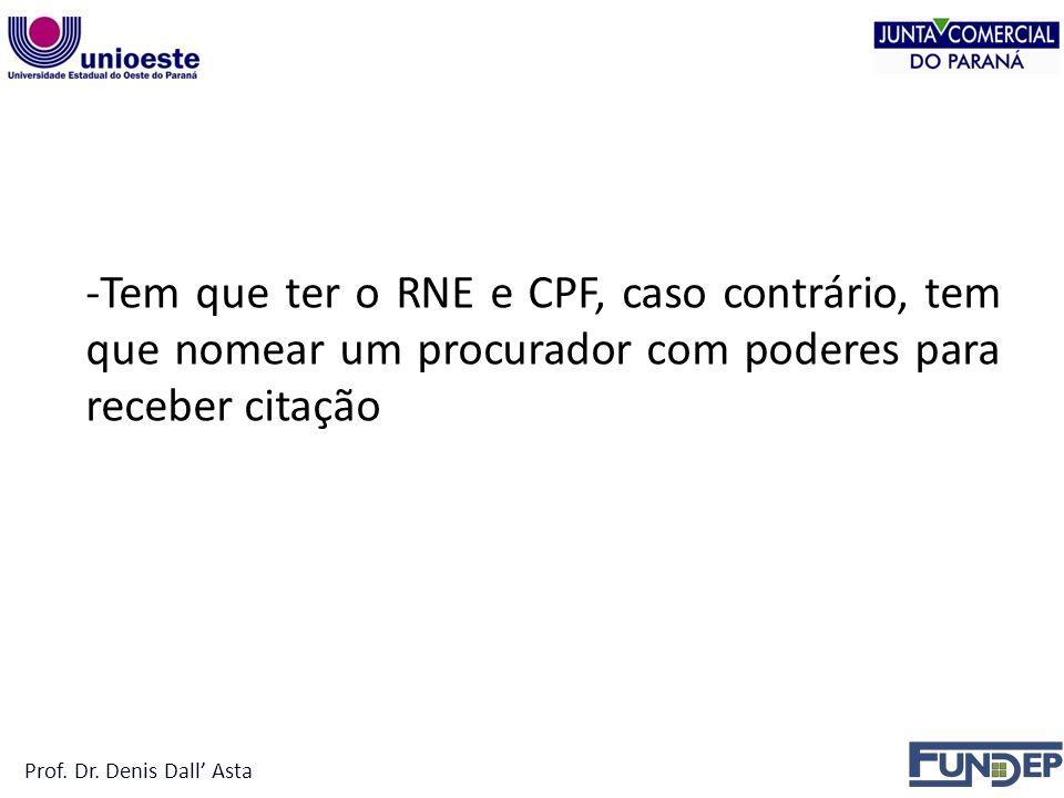 -Tem que ter o RNE e CPF, caso contrário, tem que nomear um procurador com poderes para receber citação Prof.
