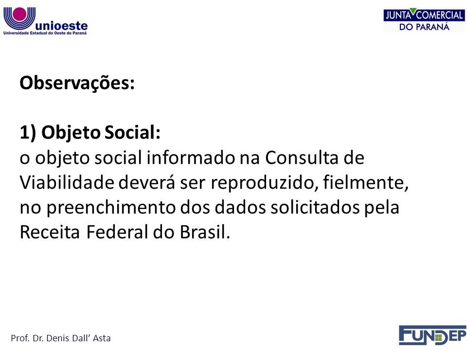 Observações: 1) Objeto Social: o objeto social informado na Consulta de Viabilidade deverá ser reproduzido, fielmente, no preenchimento dos dados solicitados pela Receita Federal do Brasil.