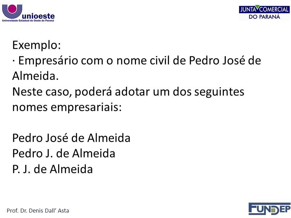 Prof.Dr. Denis Dall Asta Exemplo: · Empresário com o nome civil de Pedro José de Almeida.