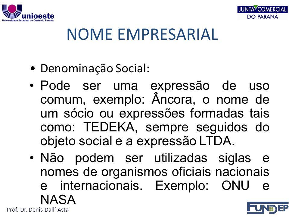 NOME EMPRESARIAL Denominação Social: Pode ser uma expressão de uso comum, exemplo: Âncora, o nome de um sócio ou expressões formadas tais como: TEDEKA, sempre seguidos do objeto social e a expressão LTDA.